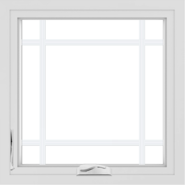 WDMA 24x24 (23.5 x 23.5 inch) White Aluminum Crank out Casement Window with Prairie Grilles