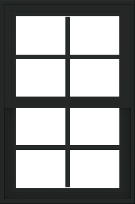 WDMA 24x36 (23.5 x 35.5 inch) black uPVC/Vinyl Single and Double Hung Window with Colonial Grilles Exterior
