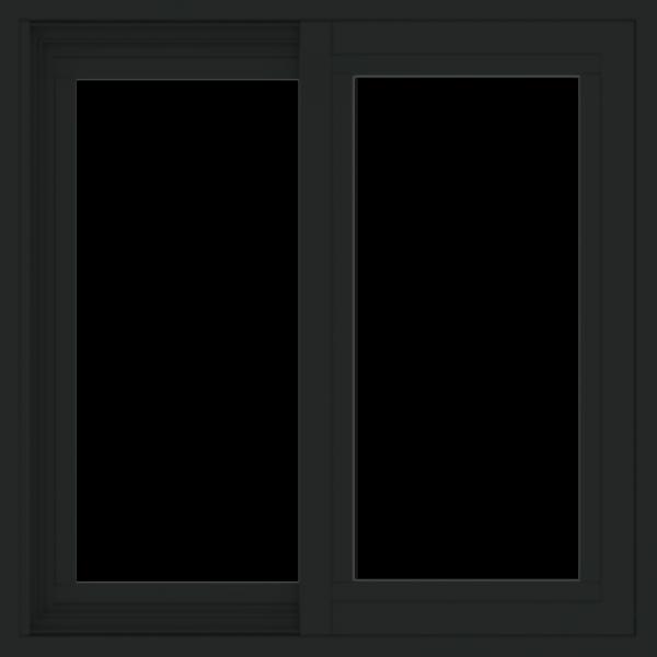 WDMA 24x24 (23.5 x 23.5 inch) black uPVC/Vinyl Slide Window without grids exterior
