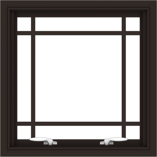 WDMA 24x24 (23.5 x 23.5 inch) Dark Bronze Aluminum Push out Awning Window with Prairie Grilles