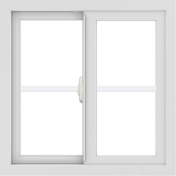 WDMA 24x24 (23.5 x 23.5 inch) black uPVC/Vinyl Slide Window with Colonial Grilles Interior