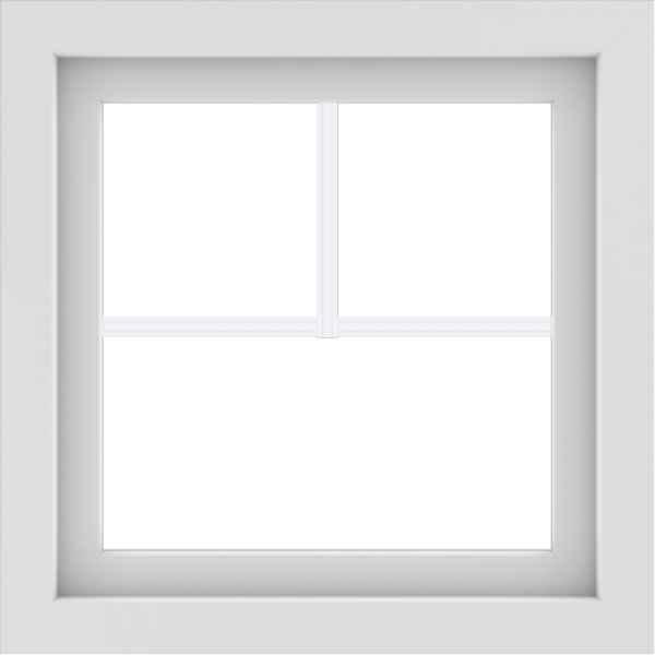 WDMA 24x24 (23.5 x 23.5 inch) White Aluminum Picture Window with Fractional Grilles