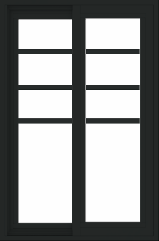 WDMA 24x36 (23.5 x 35.6 inch) black uPVC/Vinyl Slide Window with Top Colonial Grids Exterior