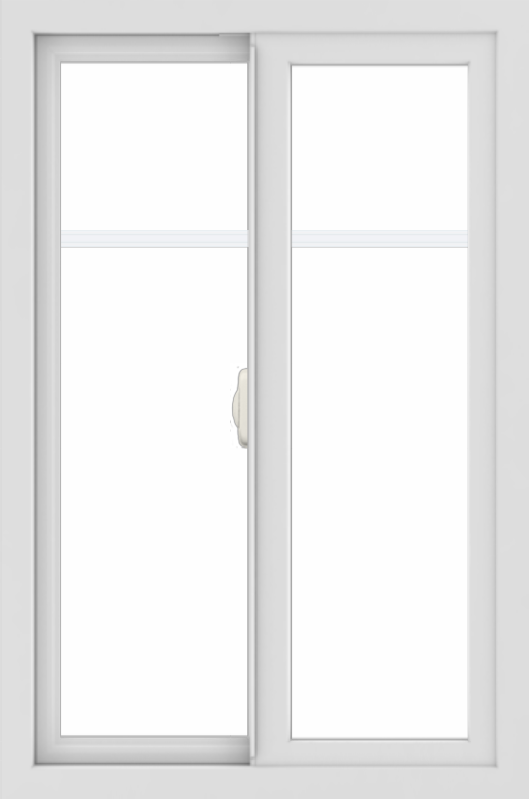WDMA 24x36 (24.5 x 36.5 inch) White uPVC/Vinyl Slide Window with Fractional Grilles