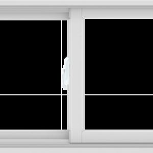 WDMA 60X24 (59.5 x 23.5 inch) White uPVC/Vinyl Sliding Window without Grids Interior