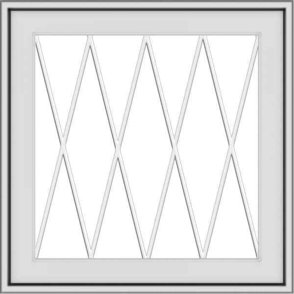 WDMA 24x24 (23.5 x 23.5 inch) White Aluminum Push out Awning Window with Diamond Grids