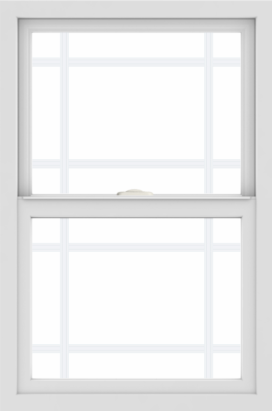 WDMA 24x36 (23.5 x 35.5 inch) black uPVC/Vinyl Single and Double Hung Window with Prairie Grilles Interior