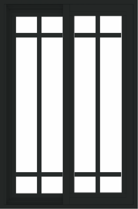 WDMA 24x36 (23.5 x 35.6 inch) black uPVC/Vinyl Slide Window with Prairie Grilles Exterior