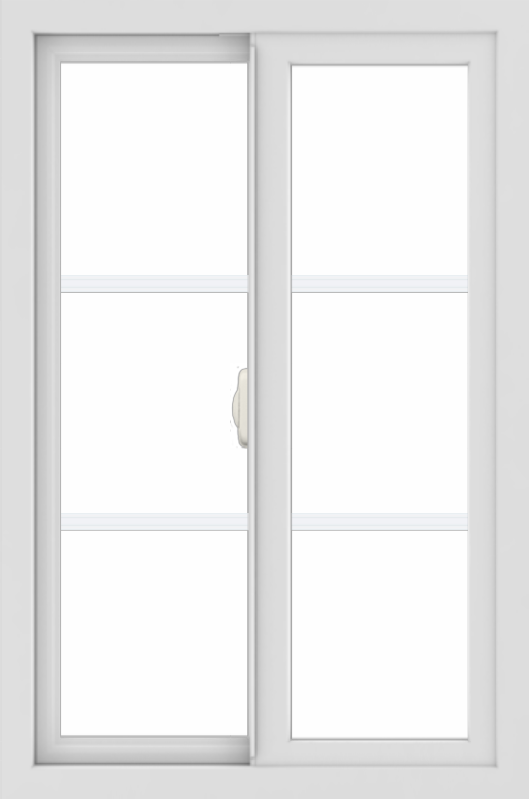 WDMA 24x36 (24.5 x 36.5 inch) White uPVC/Vinyl Slide Window with Colonial Grilles