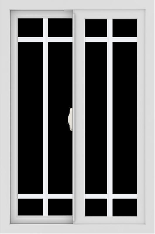 WDMA 24x36 (24.5 x 36.5 inch) White uPVC/Vinyl Slide Window with Prairie Grilles