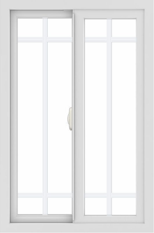 WDMA 24x36 (23.5 x 35.5 inch) black uPVC/Vinyl Slide Window with Prairie Grilles Interior