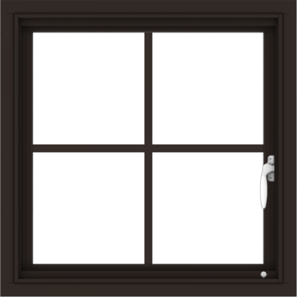 WDMA 24x24 (23.5 x 23.5 inch) Dark Bronze Aluminum Push out Casement Window with Colonial Grilles