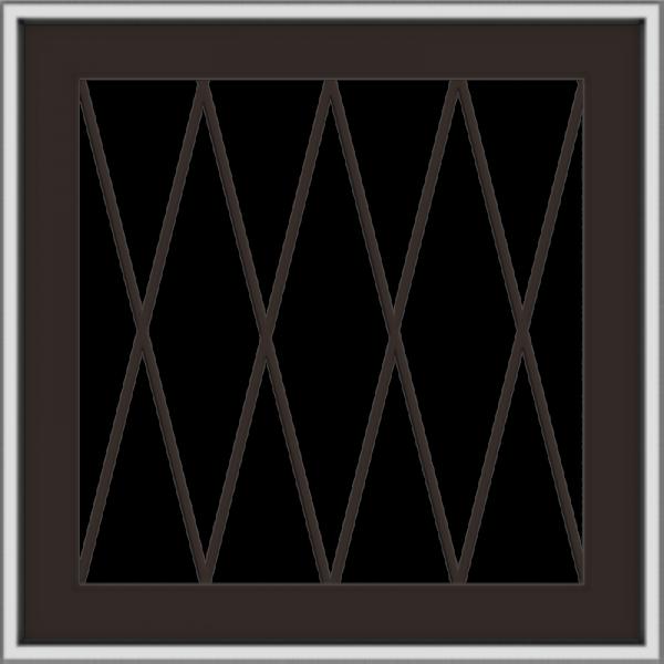 WDMA 24x24 (23.5 x 23.5 inch) Dark Bronze Aluminum Push out Awning Window with Diamond Grids