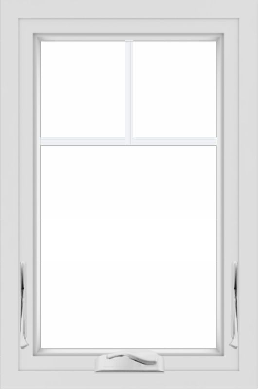 WDMA 24x36 (23.5 x 35.5 inch) black uPVC/Vinyl Crank out Awning Window with Fractional Grilles Interior