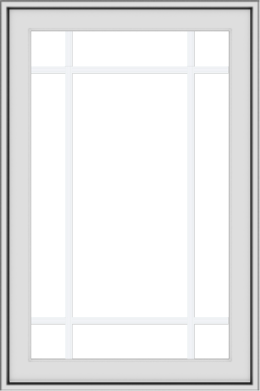 WDMA 24x36 (24.5 x 36.5 inch) White uPVC/Vinyl Push out Awning Window with Prairie Grilles
