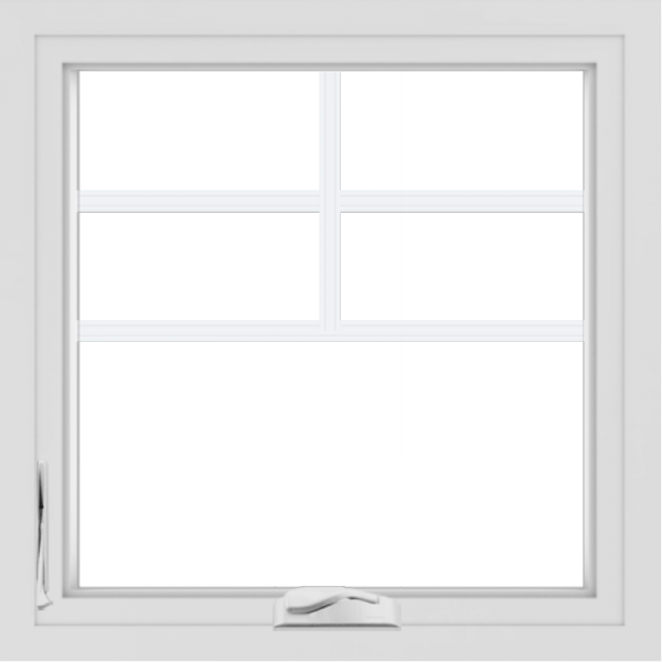 WDMA 24x24 (23.5 x 23.5 inch) White uPVC/Vinyl Crank out Casement Window with Top Colonial Grids