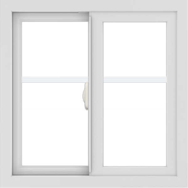 WDMA 24x24 (23.5 x 23.5 inch) White Aluminum Slide Window with Fractional Grilles