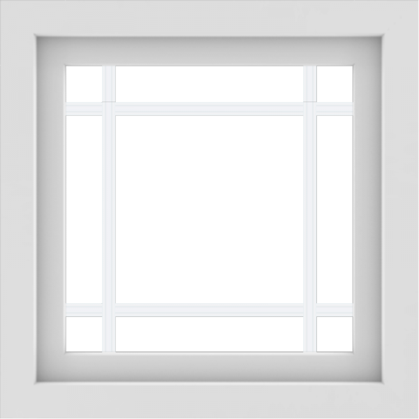 WDMA 24x24 (23.5 x 23.5 inch) White Aluminum Picture Window with Prairie Grilles