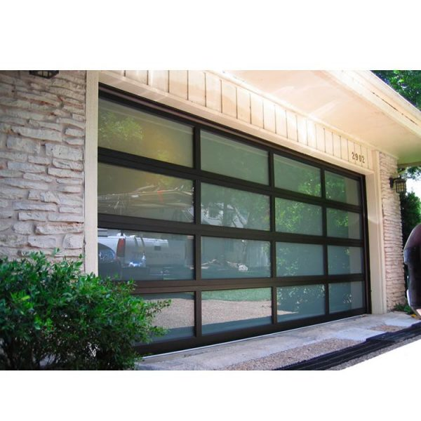 WDMA 12 X 7 Residential Automatic Aluminum Roll Up Garage Door With Clear Acrylic Glass Plastic Window Inserts
