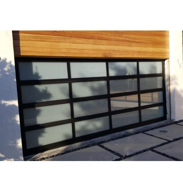 WDMA 16x7 5 Panel Frosted Glass Garage Door With Pedestrian Door Sizes And Prices For Sale