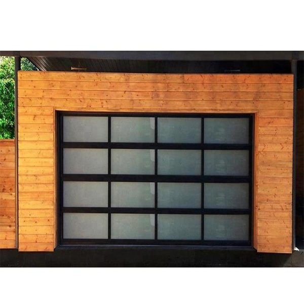 China WDMA 9x8 Aluminum Insulated Frosted Tempered Glass Garage Door Price Automatic