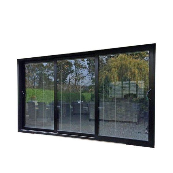 China WDMA Aama Fancy 96 X 80 Balcony 3-track Powder Coated Aluminium Glass Sliding Patio Door