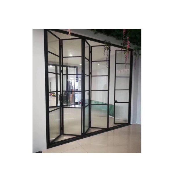 China WDMA Aluminium Comfort Room Bedroom 6 Panel Bi Fold Folding Sliding Door Interior Room Divider With Frame Design In Sunmica D