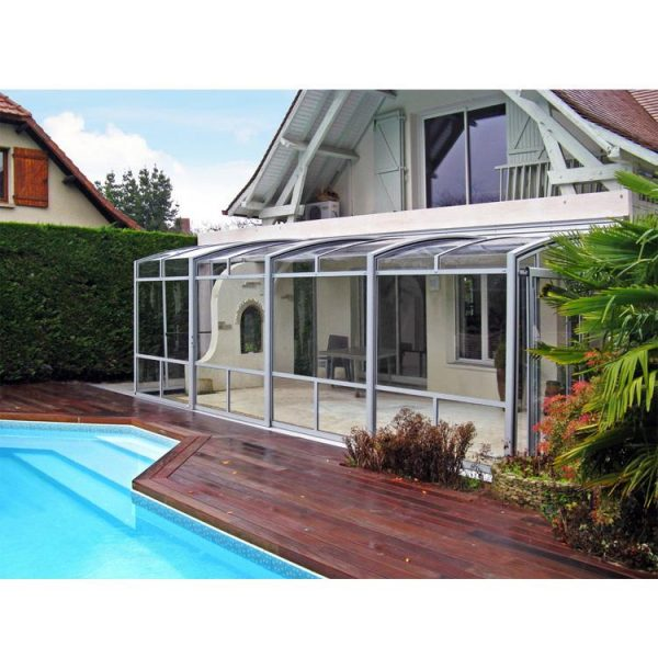 China WDMA Aluminum Frame Sunrooms Glass Houses Awning Retractable Telescopic Cover For Swimming Pool