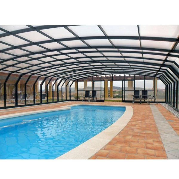 WDMA Aluminum Pool Enclosure With Elegance Awning Hardware Retractable Folding Arms