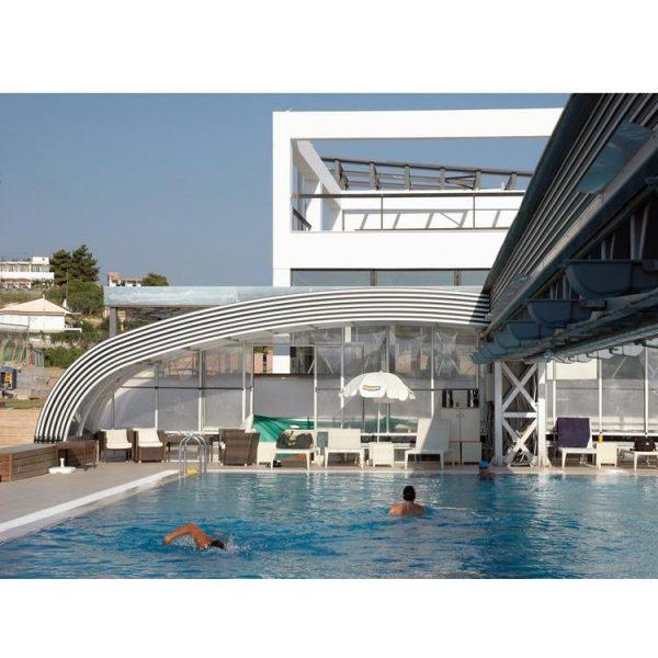 China WDMA Aluminum Pool Enclosures Sliding Open Retractable Swimming Pool Dome Cover