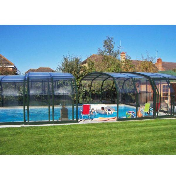 China WDMA Aluminum Swimming Pool Cover Polycarbonate Low Level Sliding Pool Enclosure