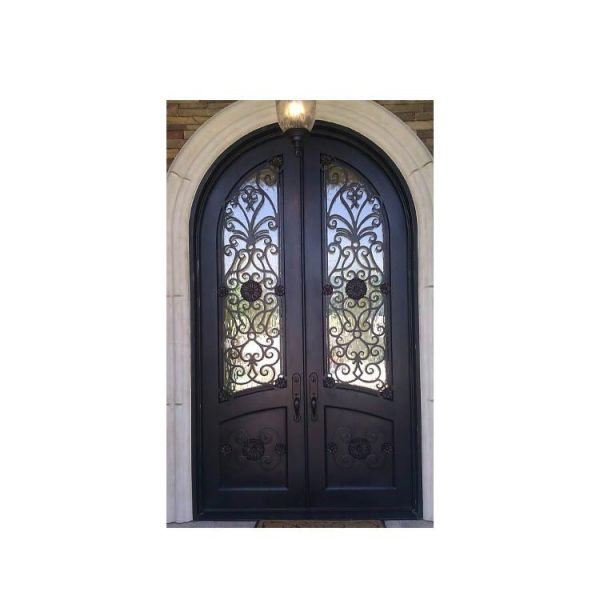 China WDMA Apartment Decorate Arches Villa Entrance Iron Glass Main Door Grill Design