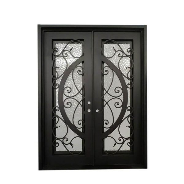 China WDMA Arched Bronze Cast Iron Steel Double Front French Door For Home