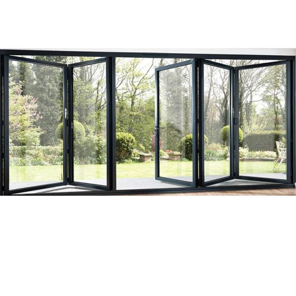 China WDMA Best Selling Aluminium Folding Door Glass Partition With Grill Design