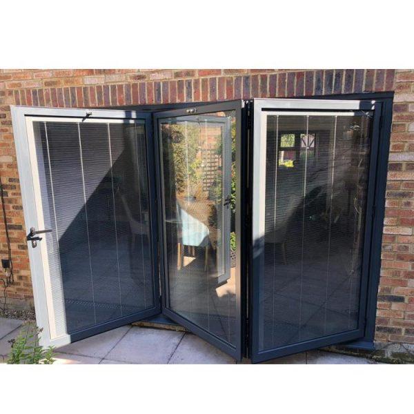 China WDMA Building Material 1.2-2.0 Thickness Bi Folding Aluminium Glass Door With Screen