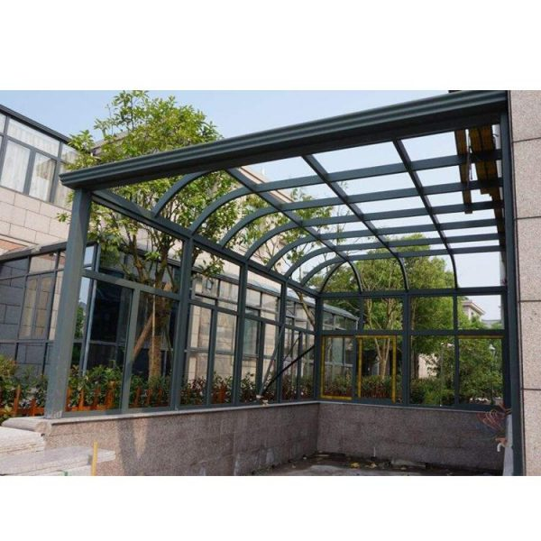 WDMA China Factory Customized Curved Glass Sunrooms Aluminium Sunrooms Grey Color
