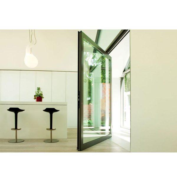 China WDMA Commercial Entrance 180 Degree Interior exterior Aluminium Double Glass Hinge Swing Pivot Entry Spring Door House