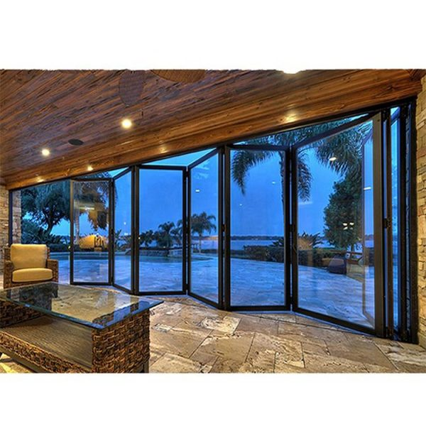 WDMA Commercial Meeting Room Luxury Aluminium Alloy Front Collapsible Bifolding Sliding Glass Entry Door Design