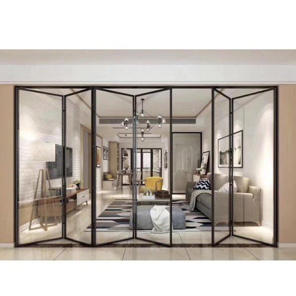 China WDMA Commercial Meeting Room Luxury Aluminium Alloy Front Collapsible Bifolding Sliding Glass Entry Door Design