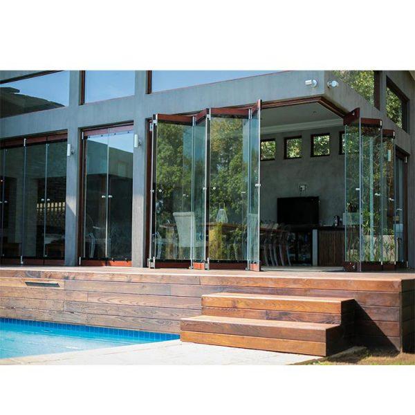 China WDMA European Standard Commercial System Frameless Folding Glass Door