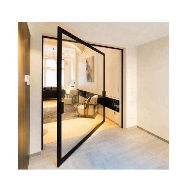 WDMA European Style Frameless Entry Center Pivot Slides Hinges Glass Door