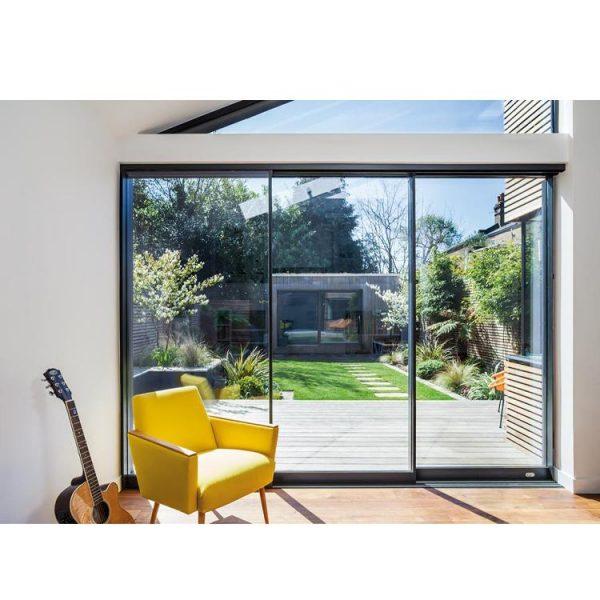 WDMA Exterior Outdoor Waterproof Slim Frame Aluminium Sliding Patio Door Balcony Sliding Stacking Door