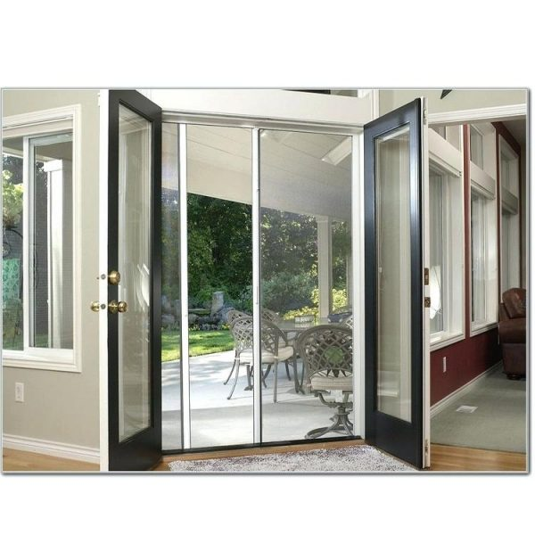 WDMA Exterior Security Double Leaf Aluminium Frame Impact Glass Entry Swing Bedroom Storm Window Door With Smart Glass Inserts
