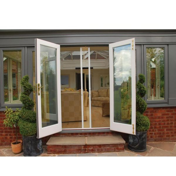 China WDMA Exterior Security Double Leaf Aluminium Frame Impact Glass Entry Swing Bedroom Storm Window Door With Smart Glass Inserts