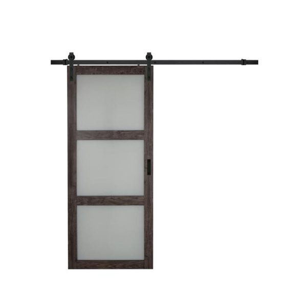 China WDMA Exterior Wood Sliding Barn Door Partition Door With Mirror System