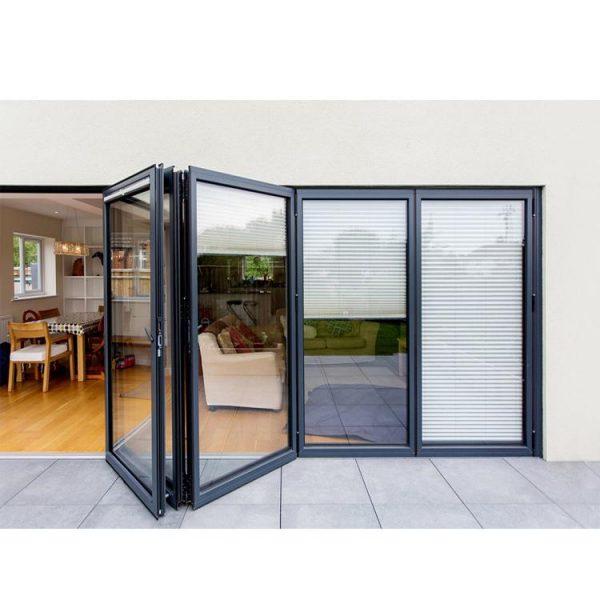 WDMA Folding Open Style And Exterior Position Aluminium Bi-fold Glass Door Design Price