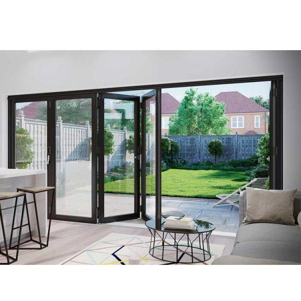 China WDMA Folding Open Style And Exterior Position Aluminium Bi-fold Glass Door Design Price
