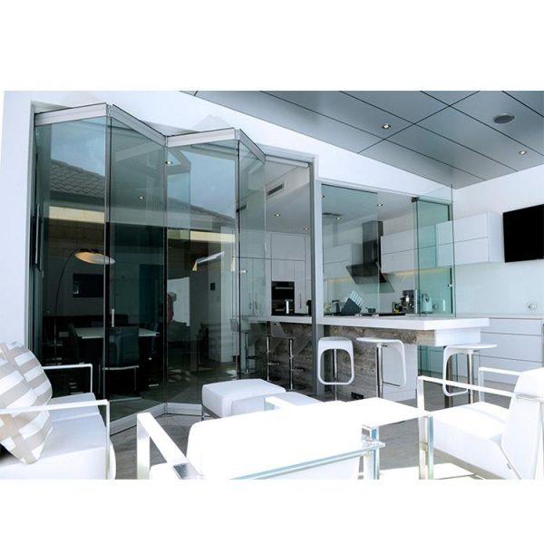 China WDMA Frameless Glass Exterior Bifold Door