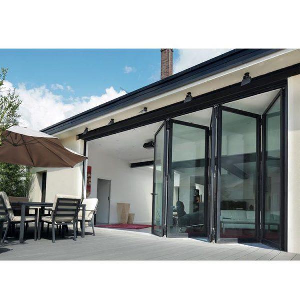 WDMA Grey Aluminium Glass Folding Door