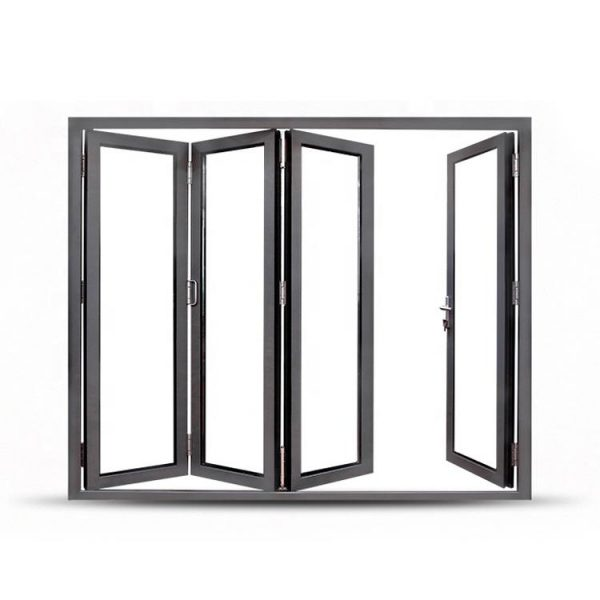 China WDMA Grey Aluminium Glass Folding Door